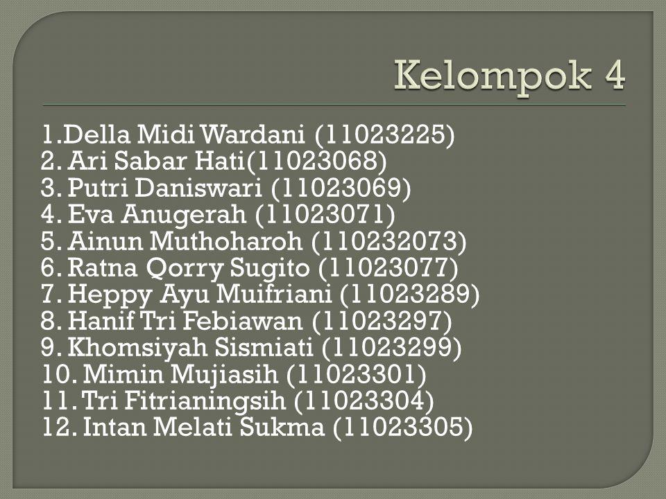 Kelompok 4 1.Della Midi Wardani (11023225) 2. Ari Sabar Hati(11023068)