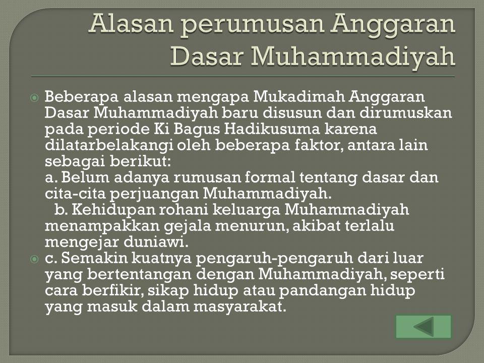 Alasan perumusan Anggaran Dasar Muhammadiyah