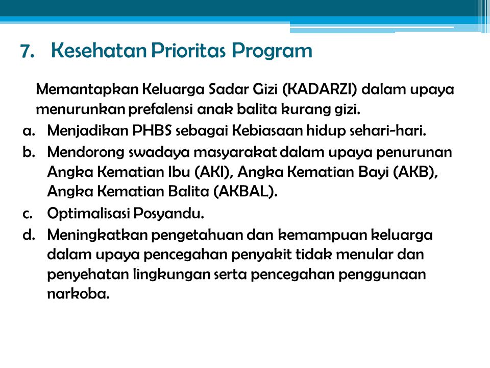 7. Kesehatan Prioritas Program