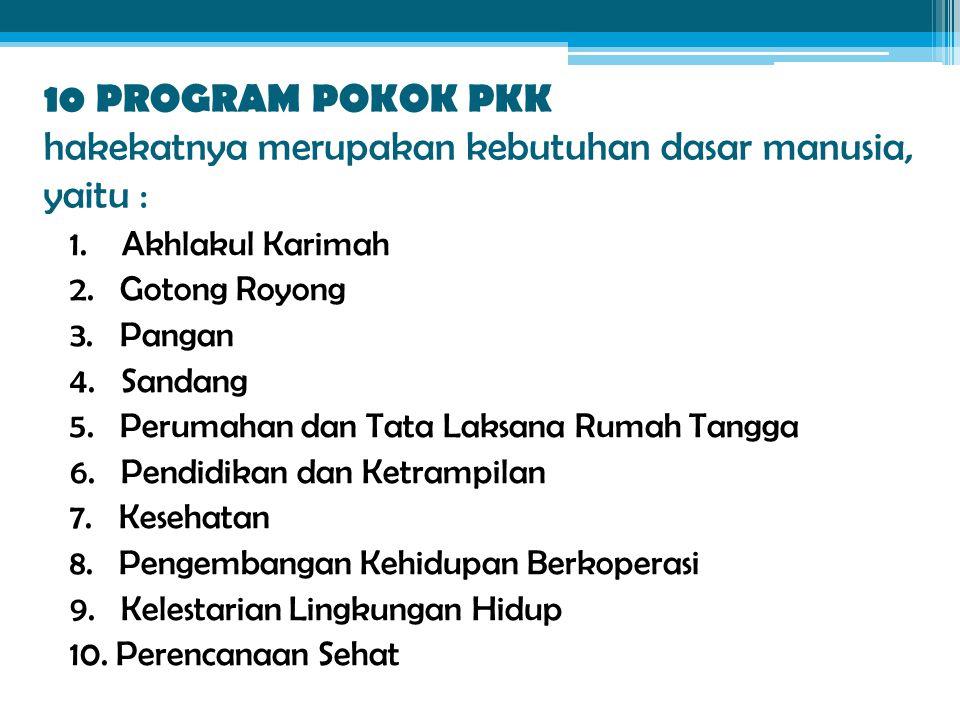 10 PROGRAM POKOK PKK hakekatnya merupakan kebutuhan dasar manusia, yaitu :