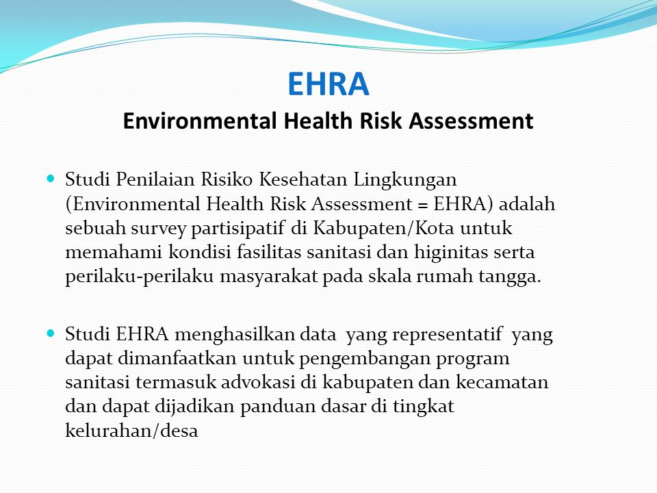 EHRA Environmental Health Risk Assessment