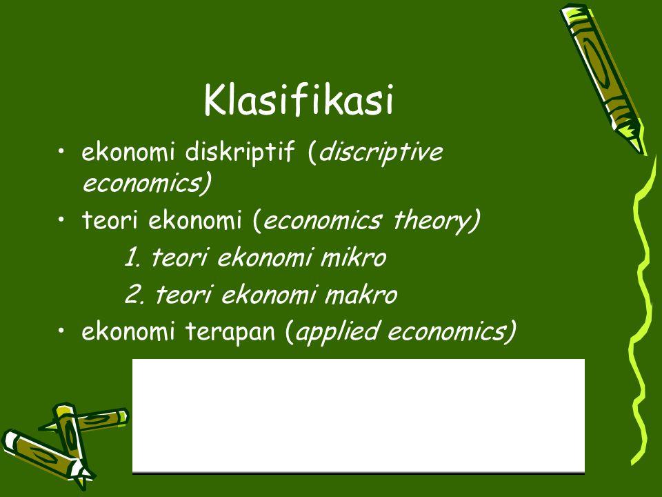 Klasifikasi ekonomi diskriptif (discriptive economics)