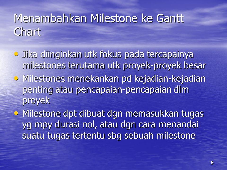 Menambahkan Milestone ke Gantt Chart