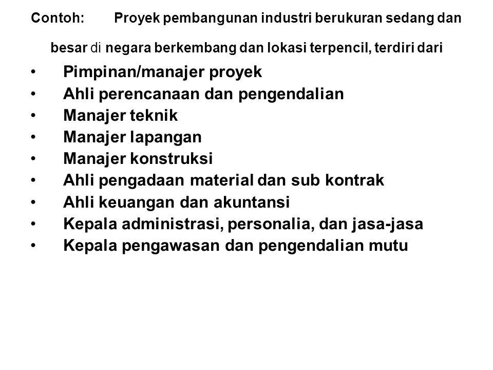 Pimpinan/manajer proyek Ahli perencanaan dan pengendalian