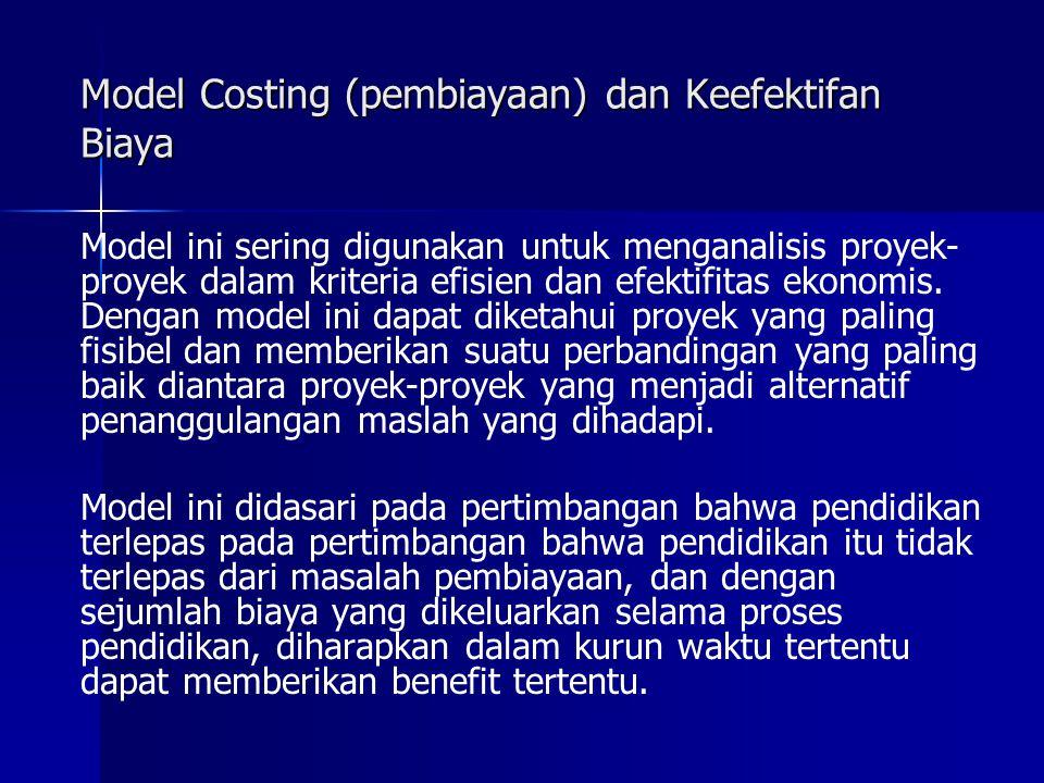 Model Costing (pembiayaan) dan Keefektifan Biaya