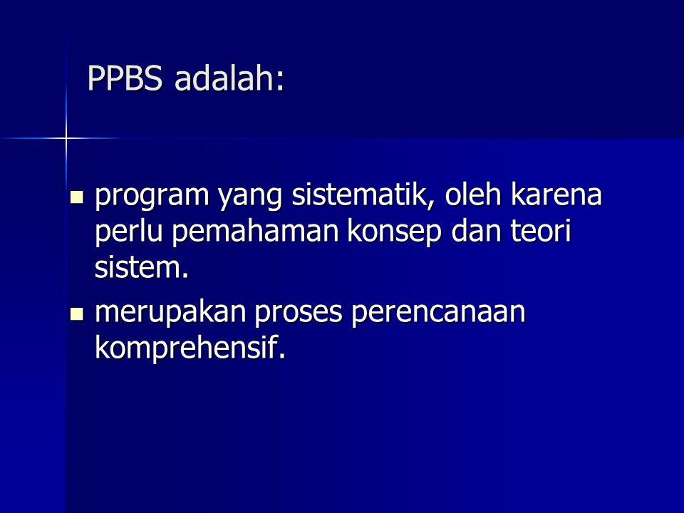PPBS adalah: program yang sistematik, oleh karena perlu pemahaman konsep dan teori sistem.