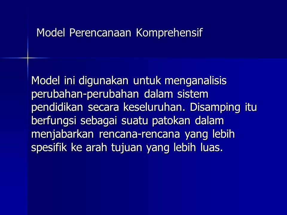 Model Perencanaan Komprehensif