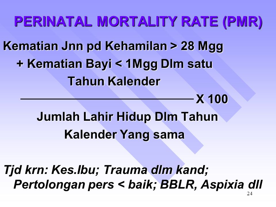 PERINATAL MORTALITY RATE (PMR)