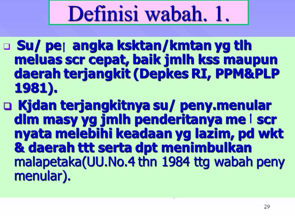 Definisi wabah. 1. Su/ pe angka ksktan/kmtan yg tlh meluas scr cepat, baik jmlh kss maupun daerah terjangkit (Depkes RI, PPM&PLP 1981).