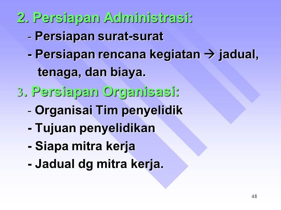 2. Persiapan Administrasi: