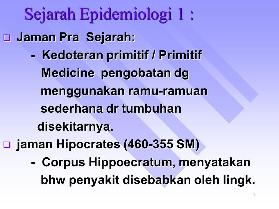 Sejarah Epidemiologi 1 :