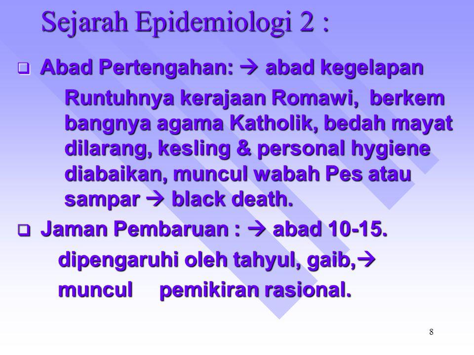 Sejarah Epidemiologi 2 :