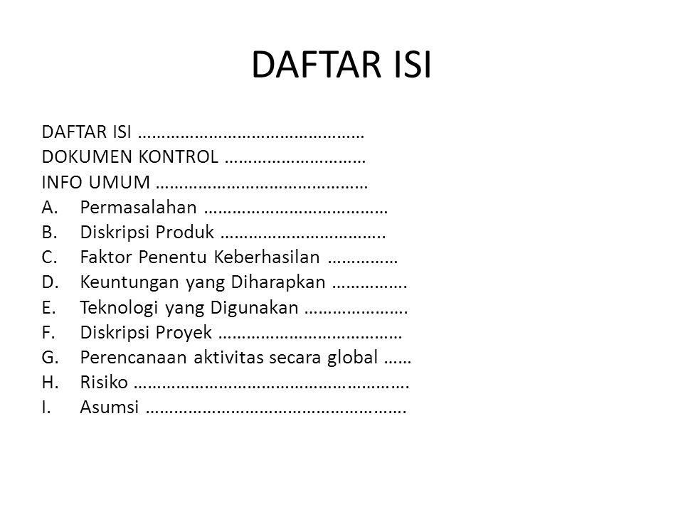 DAFTAR ISI DAFTAR ISI ………………………………………… DOKUMEN KONTROL …………………………
