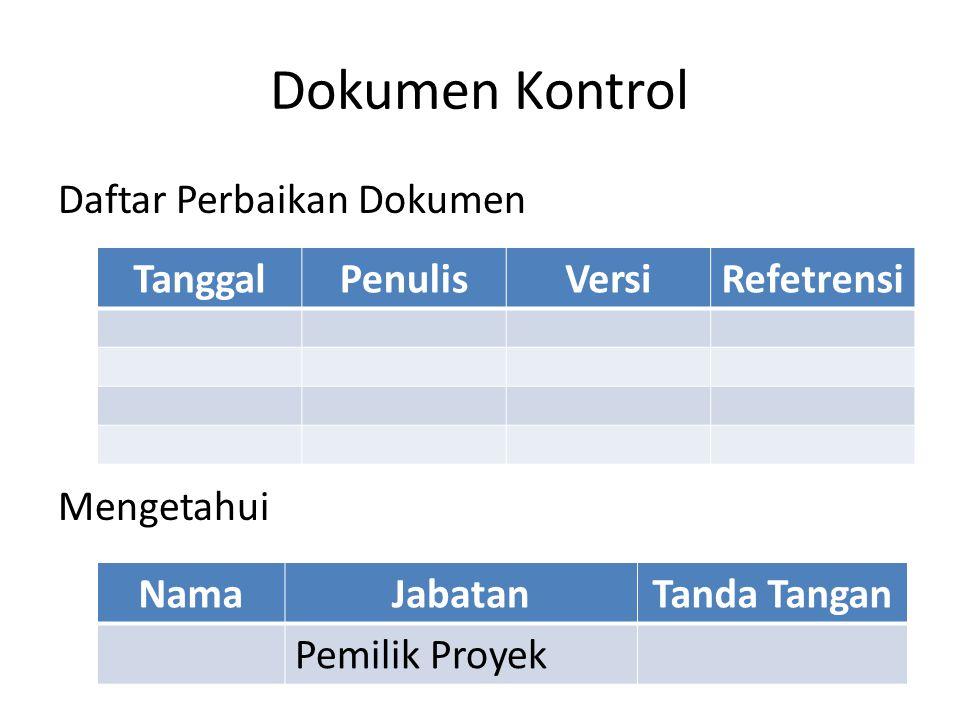 Dokumen Kontrol Daftar Perbaikan Dokumen Mengetahui Tanggal Penulis