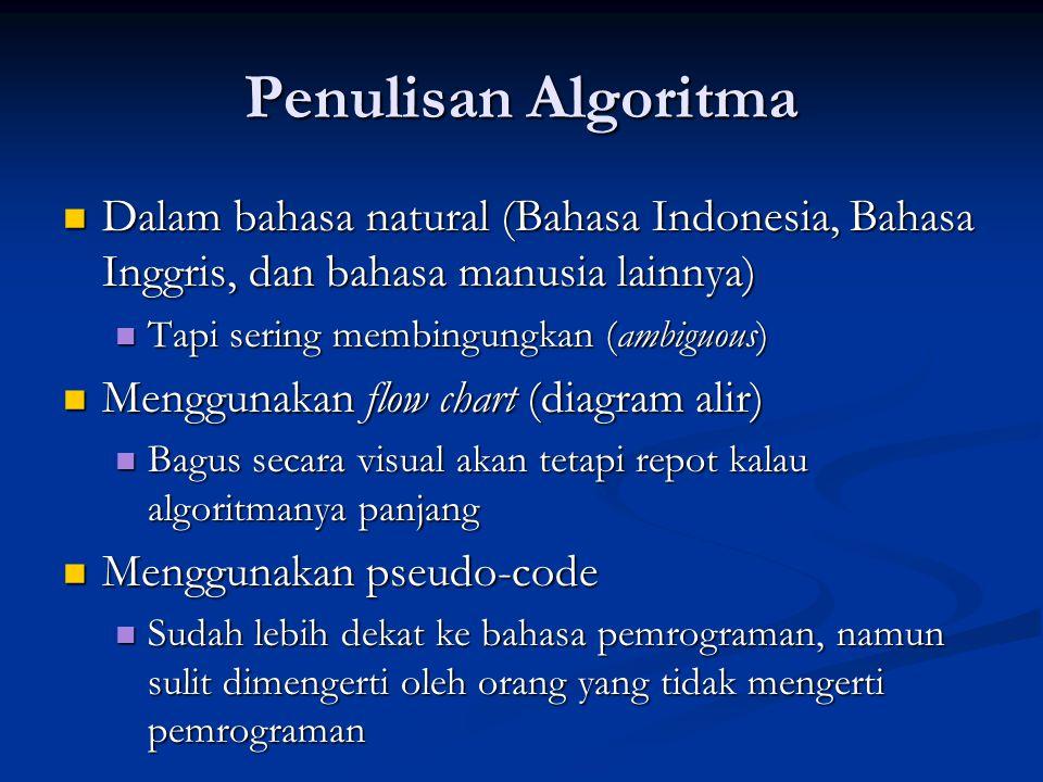 Penulisan Algoritma Dalam bahasa natural (Bahasa Indonesia, Bahasa Inggris, dan bahasa manusia lainnya)