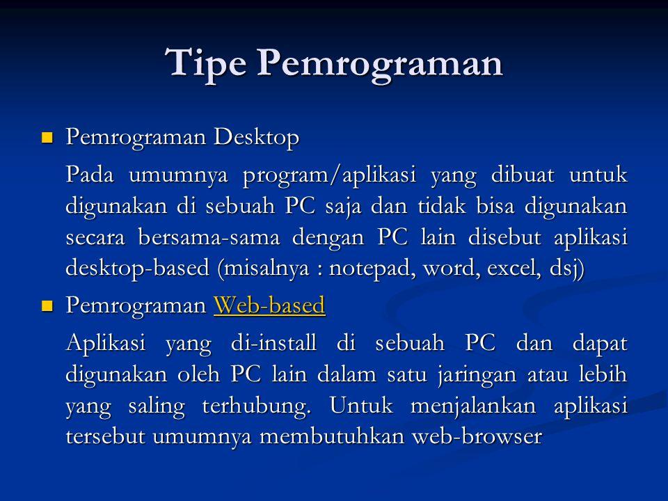 Tipe Pemrograman Pemrograman Desktop