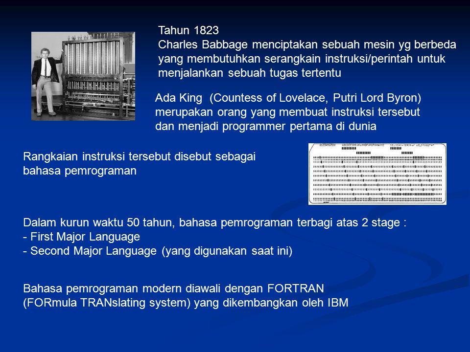 Tahun 1823 Charles Babbage menciptakan sebuah mesin yg berbeda. yang membutuhkan serangkain instruksi/perintah untuk.