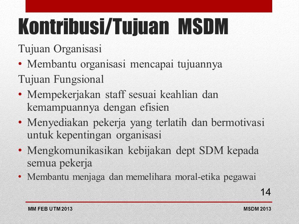 Kontribusi/Tujuan MSDM