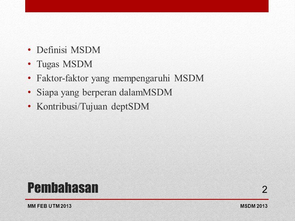 Pembahasan Definisi MSDM Tugas MSDM
