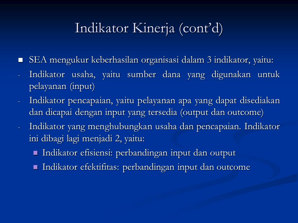 Indikator Kinerja (cont'd)