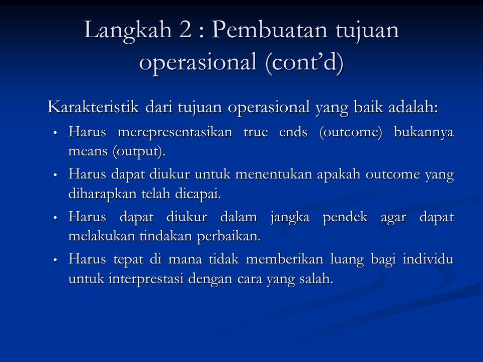 Langkah 2 : Pembuatan tujuan operasional (cont'd)
