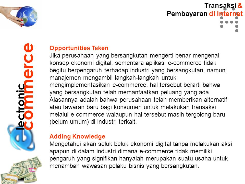 commerce lectronic Transaksi & Pembayaran di Internet