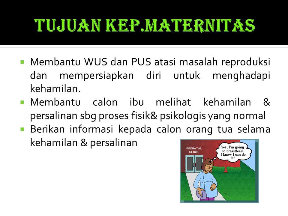 TUJUAN KEP.MATERNITAS Membantu WUS dan PUS atasi masalah reproduksi dan mempersiapkan diri untuk menghadapi kehamilan.