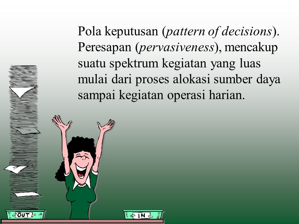 Pola keputusan (pattern of decisions).