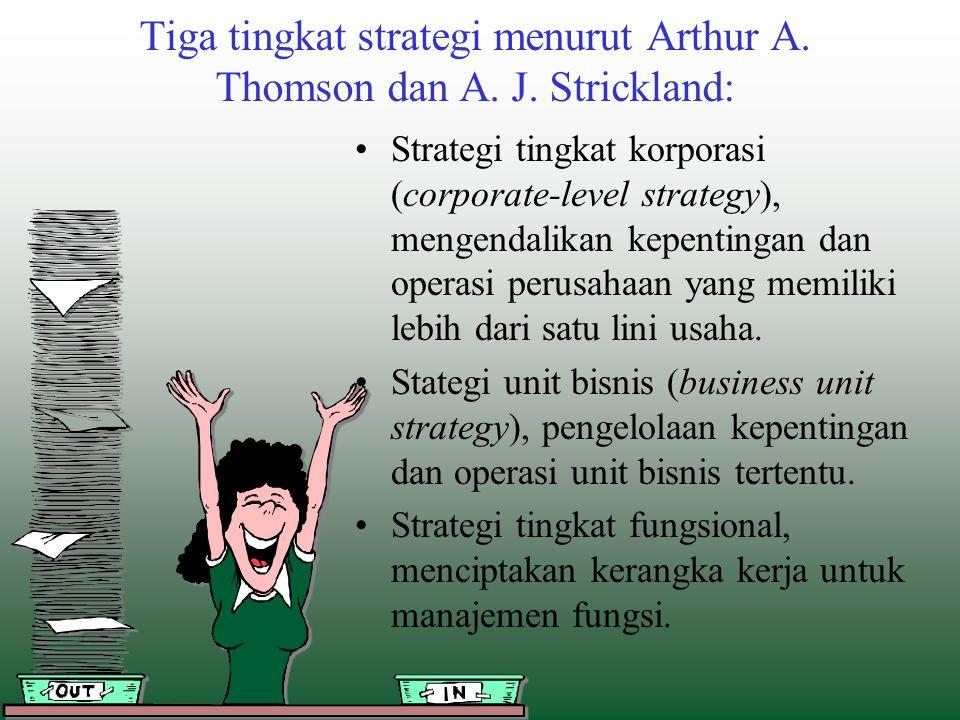 Tiga tingkat strategi menurut Arthur A. Thomson dan A. J. Strickland: