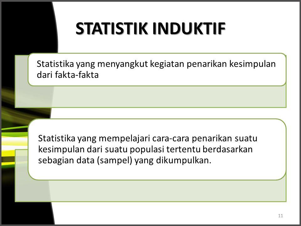 STATISTIK INDUKTIF Statistika yang menyangkut kegiatan penarikan kesimpulan dari fakta-fakta.