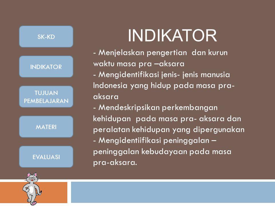 INDIKATOR - Menjelaskan pengertian dan kurun waktu masa pra –aksara