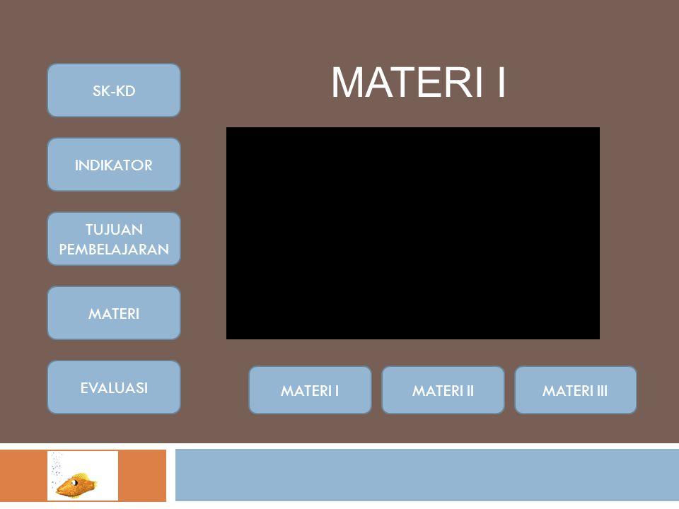 MATERI I SK-KD INDIKATOR TUJUAN PEMBELAJARAN MATERI EVALUASI MATERI I