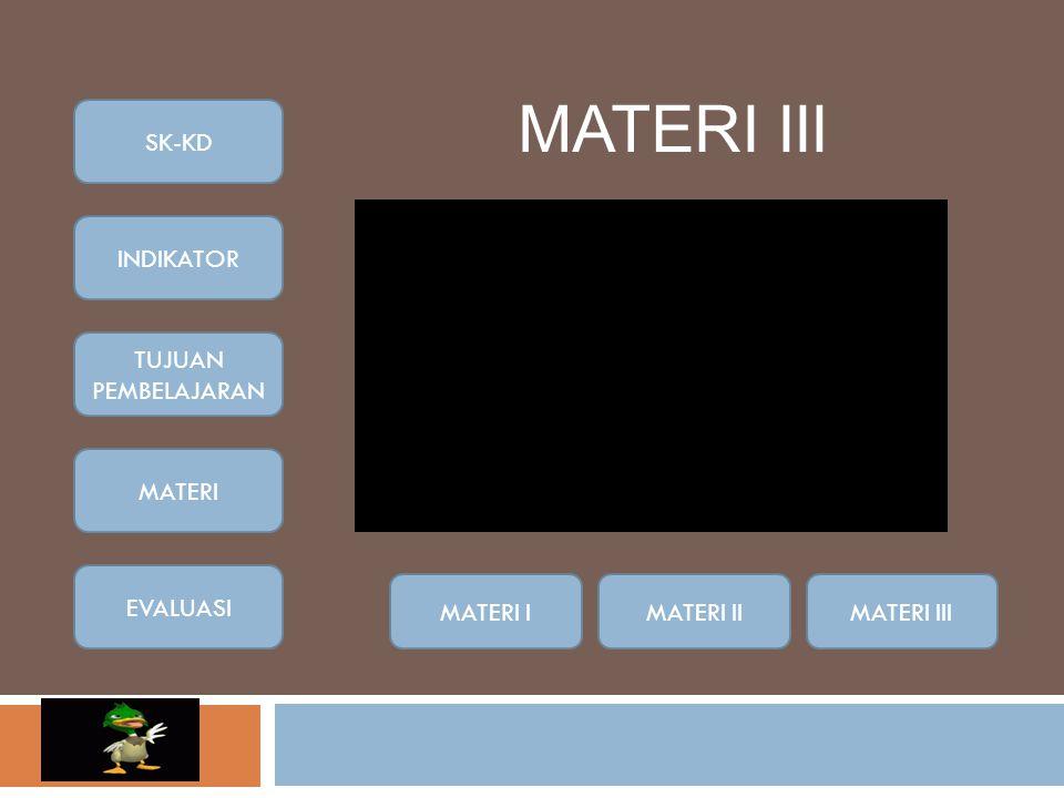 MATERI III SK-KD INDIKATOR TUJUAN PEMBELAJARAN MATERI EVALUASI