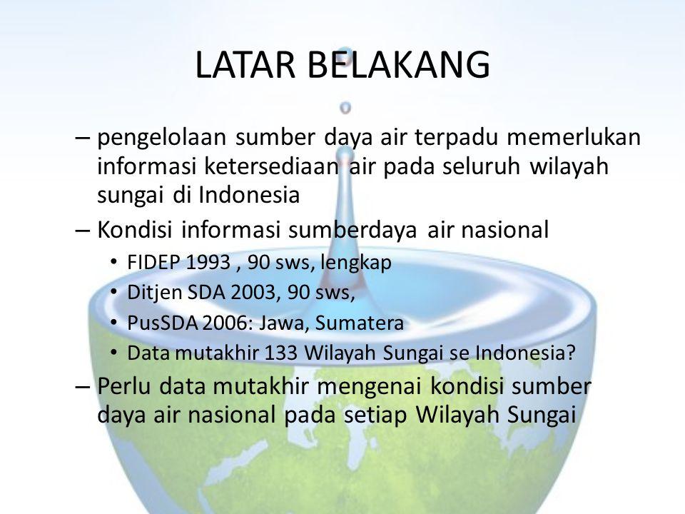 LATAR BELAKANG pengelolaan sumber daya air terpadu memerlukan informasi ketersediaan air pada seluruh wilayah sungai di Indonesia.