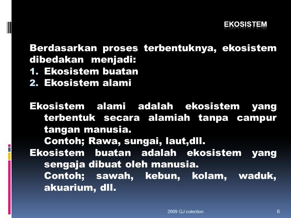 Berdasarkan proses terbentuknya, ekosistem dibedakan menjadi: