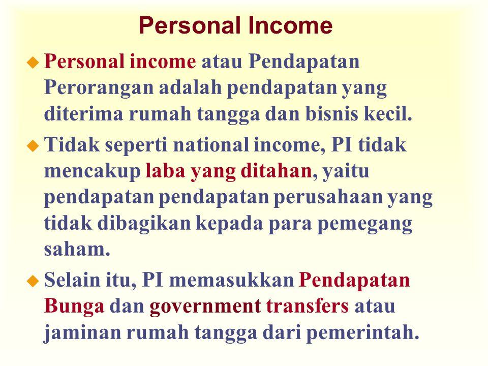 Personal Income Personal income atau Pendapatan Perorangan adalah pendapatan yang diterima rumah tangga dan bisnis kecil.