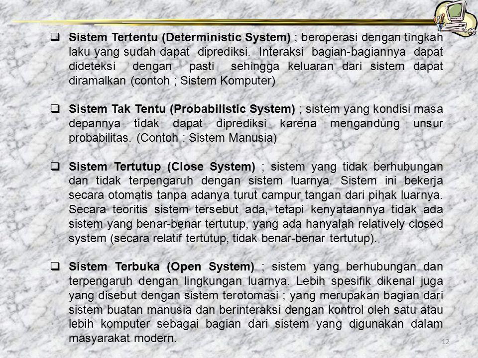 Sistem Tertentu (Deterministic System) ; beroperasi dengan tingkah laku yang sudah dapat diprediksi. Interaksi bagian-bagiannya dapat dideteksi dengan pasti sehingga keluaran dari sistem dapat diramalkan (contoh ; Sistem Komputer)