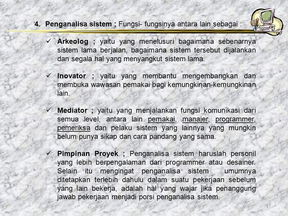 Penganalisa sistem ; Fungsi- fungsinya antara lain sebagai :