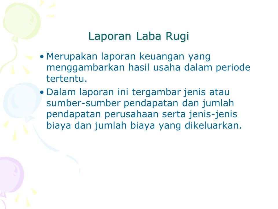 Laporan Laba Rugi Merupakan laporan keuangan yang menggambarkan hasil usaha dalam periode tertentu.