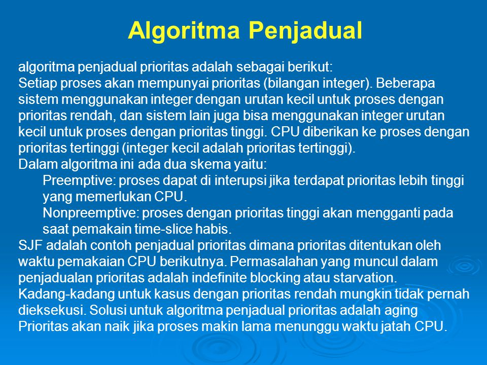 Algoritma Penjadual algoritma penjadual prioritas adalah sebagai berikut: