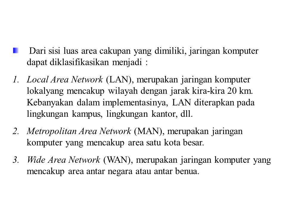 Dari sisi luas area cakupan yang dimiliki, jaringan komputer dapat diklasifikasikan menjadi :