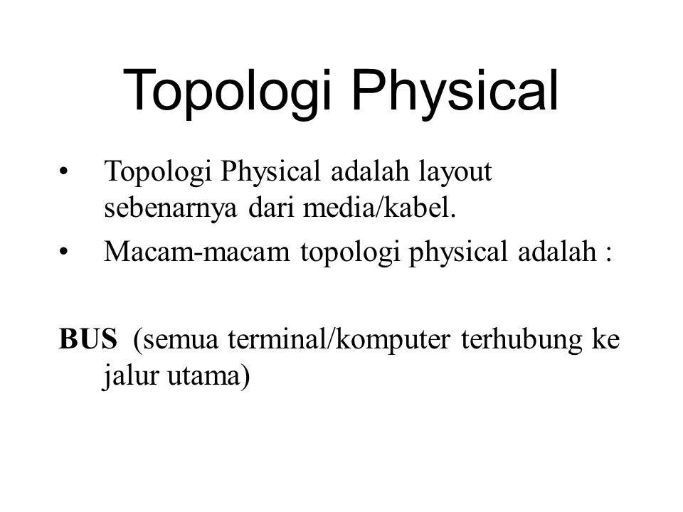 Topologi Physical Topologi Physical adalah layout sebenarnya dari media/kabel. Macam-macam topologi physical adalah :