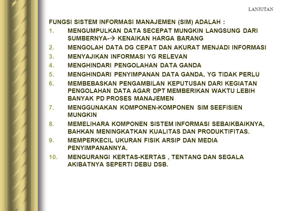 FUNGSI SISTEM INFORMASI MANAJEMEN (SIM) ADALAH :