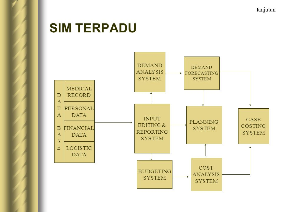 SIM TERPADU lanjutan DEMAND ANALYSIS SYSTEM D A T B S E MEDICAL RECORD
