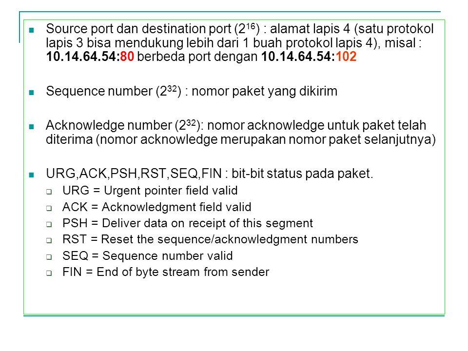 Sequence number (232) : nomor paket yang dikirim