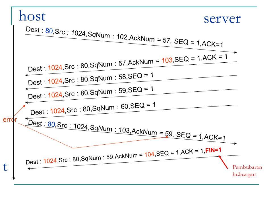 host server. Dest : 80,Src : 1024,SqNum : 102,AckNum = 57, SEQ = 1,ACK=1. Dest : 1024,Src : 80,SqNum : 57,AckNum = 103,SEQ = 1,ACK = 1.