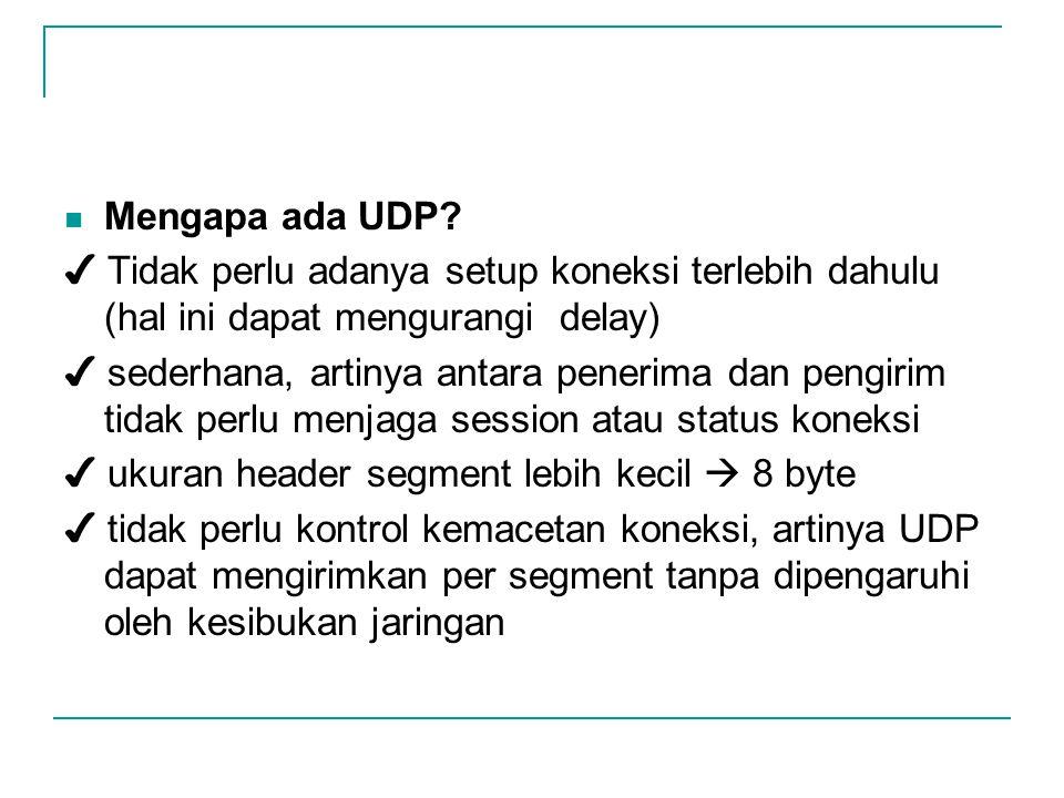 Mengapa ada UDP ✔ Tidak perlu adanya setup koneksi terlebih dahulu (hal ini dapat mengurangi delay)