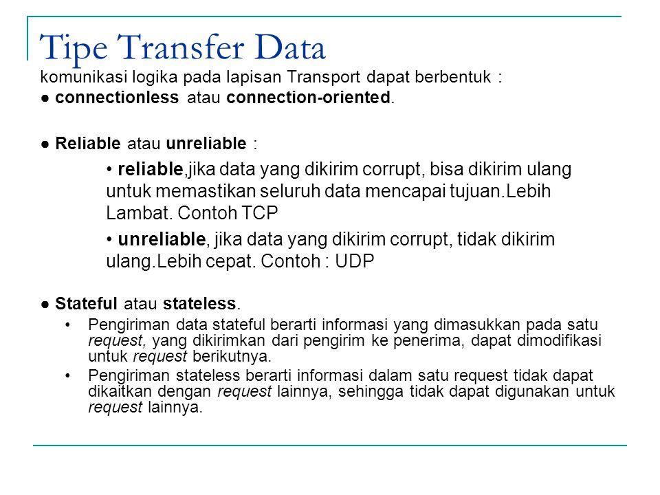 Tipe Transfer Data komunikasi logika pada lapisan Transport dapat berbentuk : ● connectionless atau connection-oriented.