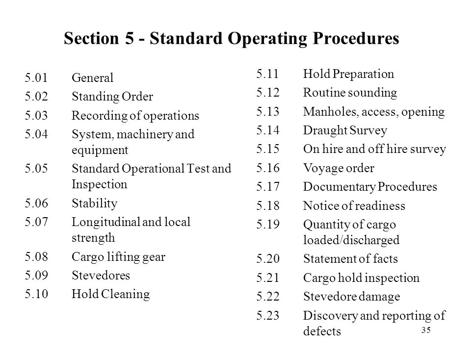 Section 5 - Standard Operating Procedures