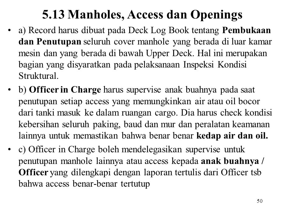 5.13 Manholes, Access dan Openings